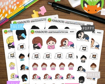 Anxiety Kawaii Girls - Panic Attack Depression Anxiety - Planner Stickers (K0001)
