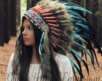 Book Week Costume ~ Children's Chief Headdress - Halloween Cow Boys and Indian Native American Headpiece - Indian Native American  feathers
