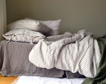 NEW Rustic Ticking stripe heavy linen duvet cover. Natural and White pinstripe. Stonewashed natural heavy linen quilt/ duvet cover.