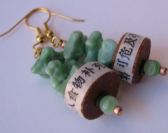 Chinese Jade Celadon  and Buddhist text earrings