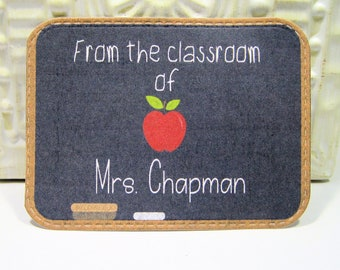 Teacher's gift - Blackboard Classroom Personalized Bookplate - Set of 24 - Adhesive - Peal and stick - Sticker - Book Plate - Trending
