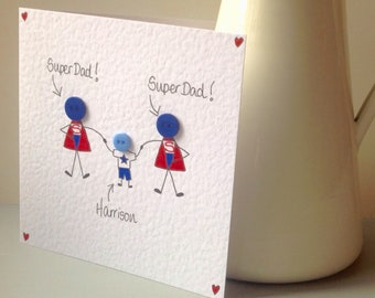 Personalised handmade button Superhero Superman Father's Day Card for 2 Two Gay Dads Daddies Birthday Father's Day Greetings Card - one boy