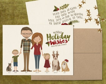 Portrait Christmas Card (stand-alone) •Personalized Holiday Card •Custom Illustrated Family •Christmas Hanukkah Holiday Colored Envelopes