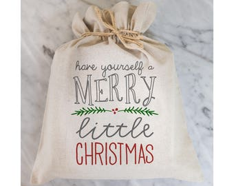 Have Yourself a Merry Little Christmas Gift Bag // Gift Wrap // Packaging // Present // Party Favor // Gift Bag // Hostess Gift