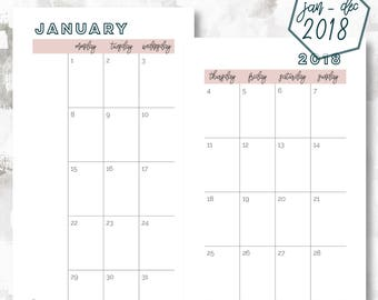 The 2 Page Calendar, Monday Start | January - December 2018 | Personal Size | Printable Planner | Printable Calendar | OG Style