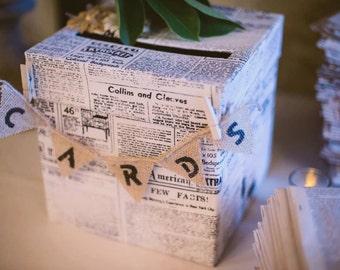 Newspaper Wedding Card Box, Gift Card Box, Wedding Box, one of a kind card Holder - READY TO SHIP