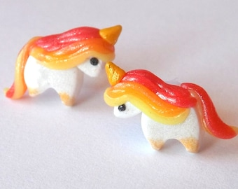 Unicorn Earrings - Nickel Free Earrings - Kawaii Unicorns - Cute Earrings - Hypoallergenic Posts - Nylon Earrings - Metal Free Posts