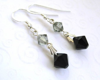 Crystal Drop Earrings, Jet Black Crystal Bicone Earrings, Gray and Black Dangle Earrings, Simple Elegant Jewelry, Minimalist Jewelry for Her