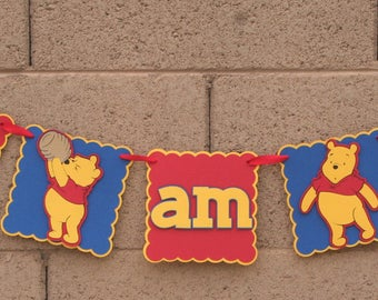 Winnie the Pooh. Birthday Banner.  I am 1 banner. Red Blue and Yellow. Happy Birthday. Photo Prop. Highchair Banner.