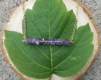 Chipped Amethyst Bar Necklace