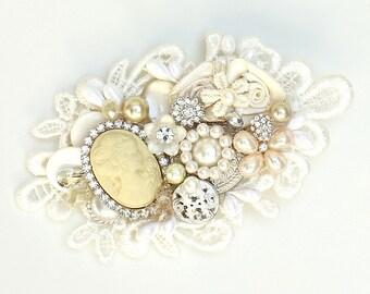 Cameo Bridal Comb- Bridal Hairpiece-Vintage Inspired Hair Accessories-Cameo Hairpiece- Cameo Hair Comb- Bridal Hair Accessories-Brass Boheme