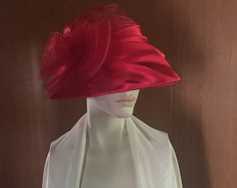 1960's Red Straw Hat with Satin Netted Bow Audrey Hepburn Chic