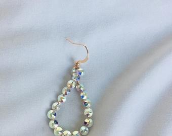 Small Rhinestoned Sparkley Teardrop Earrings!