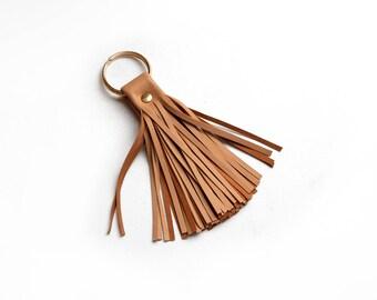 Leather Tassel Keychain, Camel tassel