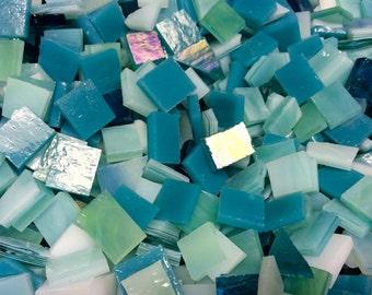 100 AQUA - BLUEGREEN #4 Odd Mix Stained Glass Mosaic Tile B31