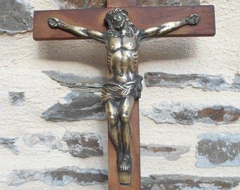 Vintage French Crucifix with Bronze Jesus