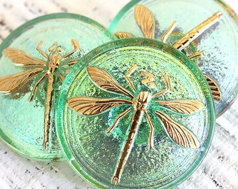 31mm Czech Glass Buttons - Large Dragonfly Button - Size 14 Button - Gold Dragonfly Button - Irridescent Green And Gold - 1 Button