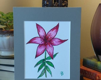 Pink lily watercolor