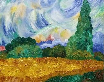 Van Gogh-ish Cypresses - original oil painting. Impressionism.