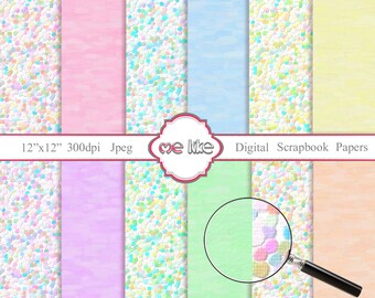Digital Scrapbooking Confetti Paper Pack  -INSTANT DOWNLOAD-Digital Paper for Personal or Commercial Use - 12 Sheets - 300 DPI -