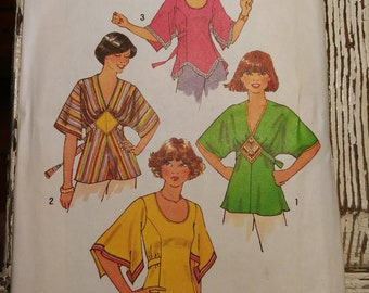 """Boho/Hippie Tops with Kimono Sleeves and Handkerchief Hems Sewing Pattern, Simplicity 7983, Size 10, Bust 32 1/2"""", Vintage 1977, Cut"""