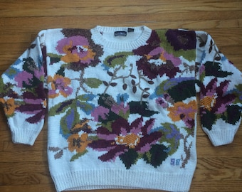 Vintage Hunters Run Thick Heavy Weight Floral Print Knit Oversize Sweater