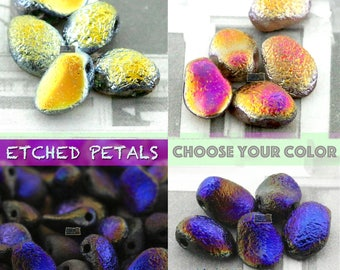 30pcs Czech ETCHED TULIP Petal Beads - CHOOSE your Color - new petal beads - Etched finishes - 6x8mm