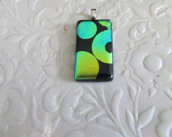 """Fused Dichroic Pendant - Fused Dichroic Jewelry - Glass Pendant - Green Circles - Glass Jewelry - Measures 1.25"""" x .75"""""""