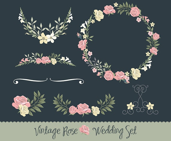 Vintage Wedding invitation floral wreath clipart collection