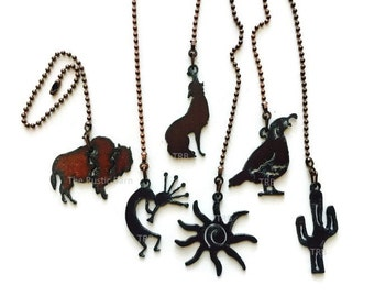 Ceiling fan pulls etsy ceiling fan pull southwest quail cactus sun kokopelli buffalo or coyote made of rusty rustic recycled aloadofball Gallery