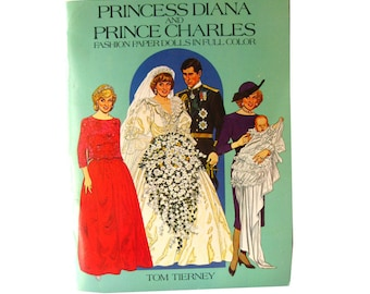 Princess Diana Prince Charles Fashion Paper Dolls by Dover Publishing - Uncut Paper Doll Book - Tom Tierney - Prince William - Royal Wedding