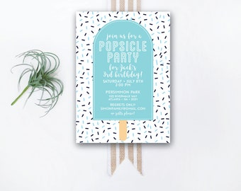 INSTANT DOWNLOAD birthday invitation / popsicle party invite / popsicle birthday party / confetti invite / sprinkles invite / boy birthday