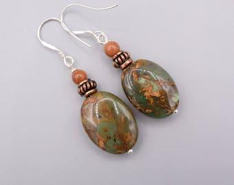 African Opal Earrings, modern dangle Earrings, Copper and Silver Earrings, 925 silver,