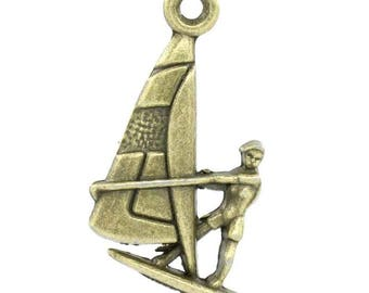 Sailboat sail boat charm pendant Bronze 22x15mm