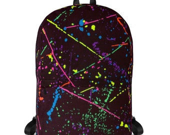 80s Clothing Neon Paint Splatter Rainbow Laptop Backpack Women Retro 80s Splatter Paint Festival Clothing Rave Clothing Burning Man Vintage
