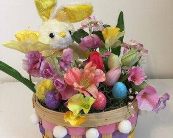 Easter Bunny in a Field of Spring Flowers