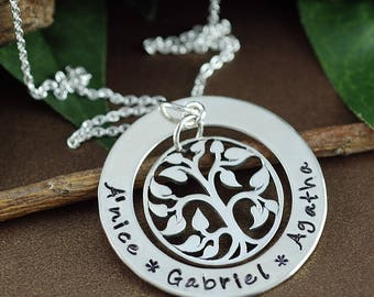 Personalized Family Tree Necklace, Family Tree Jewelry, Hand Stamped Tree of Life Necklace,  Sterling Silver Necklace, Gift for Mom