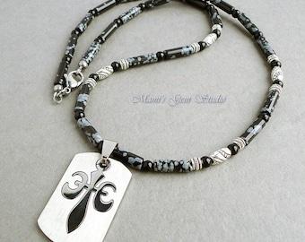 Men's Necklace, Stainless Steel Fleur de Lis Pendant, Black Stone Beaded Necklace for Men, Snowflake Obsidian, Black Onyx