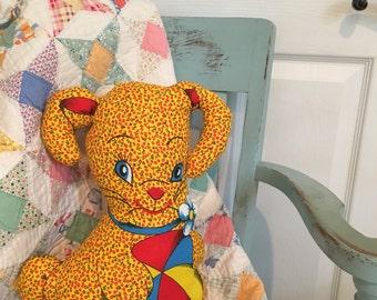 Decorative vintage fabric pillow bunny rabbit