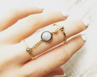 Moonstone double ring chain, Midi Ring, Brass Ring, double finger ring, stacking ring, knuckle ring, gold ring, gemstone ring, belly dance.