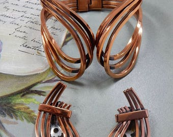 RENOIR Signed Solid Copper Wide Hinged Scroll Bracelet and Earring Set   PM16