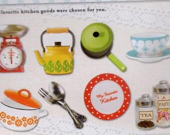 Kettl,eSaucepan,Cup,Sppon,Fork,Dish, Japan Kawaii KITCHEN GOODS stickers flake