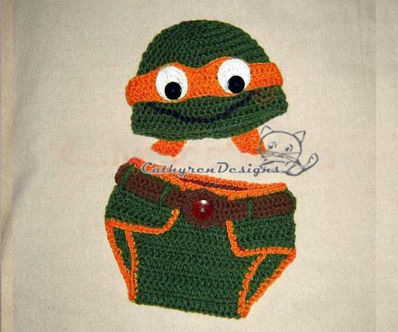 Baby Ninja Turtle Hat And Diaper Cover Set Photo Prop