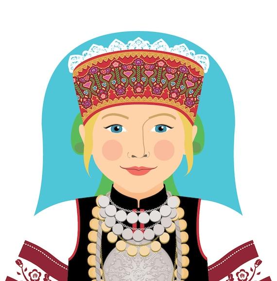 Seto, Estonian Doll Art Print with traditional dress, matryoshka
