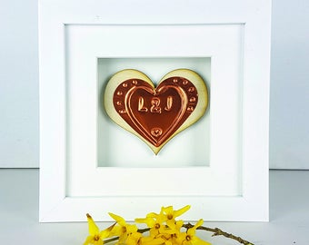 Embossed Birch Wooden Heart Framed Ornament-Gift for Couple-Gift for Wife-Wooden Anniversary Gift-Gift For Husband-Copper 7th Anniversary