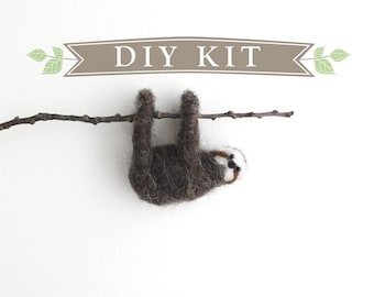 DIY Kit - Sloth Needle Felting Kit - Needle Felted Animal Kit