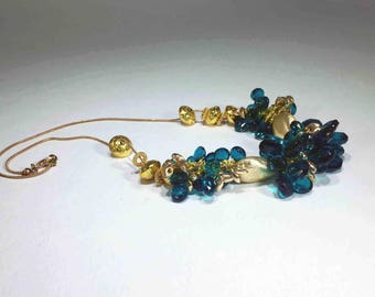 Teal Green Quartz with Gold hearts on a Gold Chain