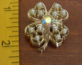 Four Leaf Clover Seed Pearl Brooch