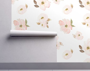 Blush Floral Wallpaper - Indy Bloom Design Blossom By Indybloomdesign - Custom Printed Removable Self Adhesive Wallpaper Roll by Spoonflower