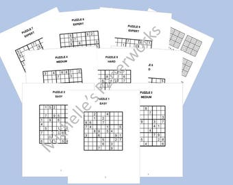 Sudoku Puzzle Set 6 Easy Medium Hard Expert
